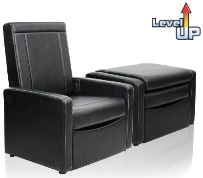 Genial Convertible 3 In 1 Ottoman Chair: Black Leather Finish Club Chair With  Storage