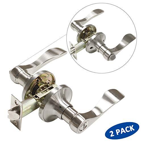 Knobonly 2 Pack Privacy Door Lever Handle Satin Nickel Finish Lockset Drop Keyless Door Handleset Reversible Right Or Left Handed for Bedroom Bathroom
