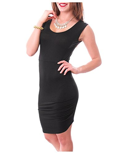 G2 Chic Women's Sleeveless Low U Neck Stretchy Fit Evening Dress(DRS-EVP,BLK-M)