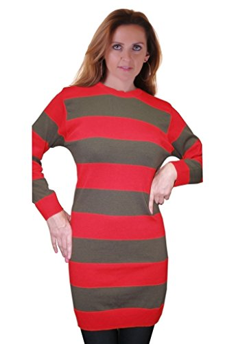 Freddy Krueger Sweater Dress (Rimi Hanger Women's Red And Green Stripe Fancy Dress Striped Knitted Jumper Red Green)