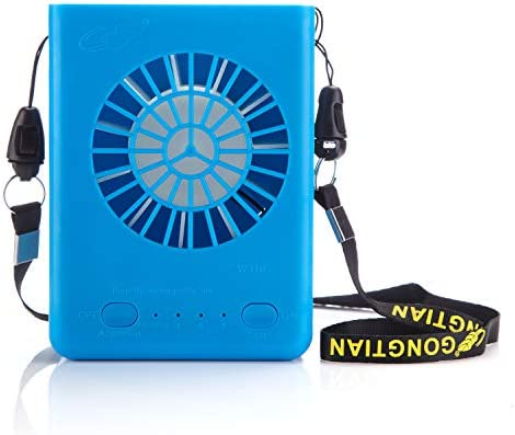 Powshop Portable Necklace Multi-Functional Rechargeable Mini Fan 3 Speeds Personal Cooling Fan with 18650 Li-ion Battery USB Charging String for Outdoors Travel Office Blue