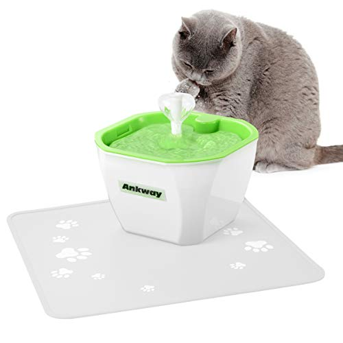 Ankway Pet Water Fountain with Anti-bite Pipe, 1.6L Pet Drinking Fountain with Carbon Filters and Water Level Detector, Pet Drinking Dispenser Ultra-Quiet Pet Fountain for Cat Dog Kitten