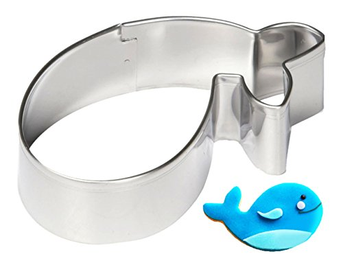 Yunko Lovely Animal Series Stainless Steel Cookie Cutter Fondant Cutter Puppy Cat Giraffe Elephant Rabbit Dolphin Bone (whale)