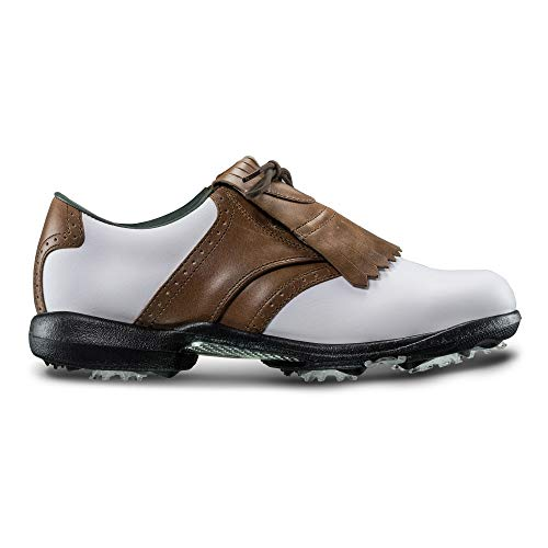 (FootJoy Women's DryJoys Golf Shoes White 8 M Luggage Brown, US)