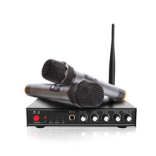 UHURU UHF Wireless Microphone System Dual Channel, 2 Metal Wireless Handheld Mic for PA, DJ Party, Karaoke, Wedding, Conference
