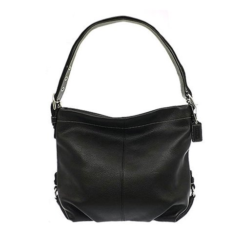 Authentic Coach Black Pebbled Leather Duffle Shoulder Bag 15064