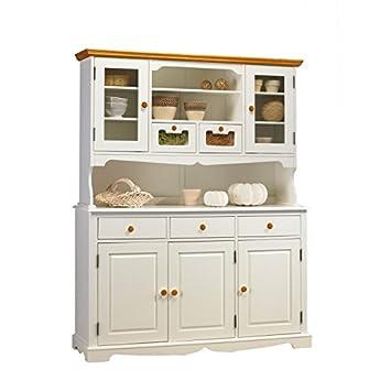 beaux meubles pas chers buffet vaisselier blanc miel 5 portes