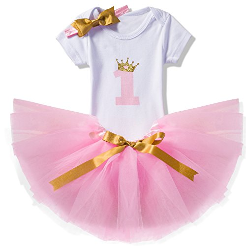 Cute Outfits For Parties (NNJXD Girl Crown Tutu 1st Birthday 3 Pcs Outfits Romper+Skirt+ Gold Headband Size (1) 1 Year Pink)