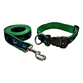 Preston Kelly Green Whale on Navy Dog Collar and Leash Set Navy Blue Ribbon on Green Nylon Webbing (Large)