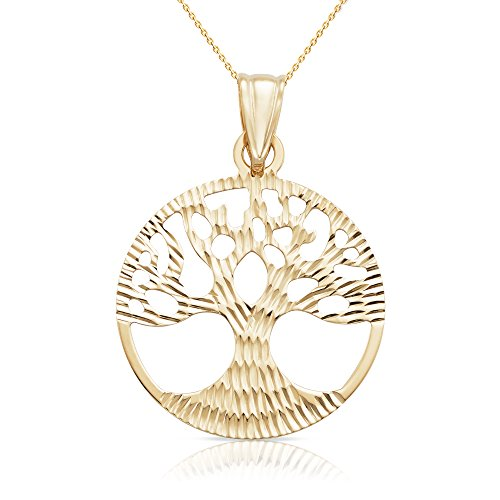 Jewel Connection 14k Solid Yellow Gold Double Sided Tree of Life Disk Chain Pendant Necklace for Women,Men and Children (20, Yellow-Gold)