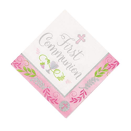 (Fun Express - Communion Day Pink Luncheon Napkins - Party Supplies - Licensed Tableware - Licensed Napkins - 36)