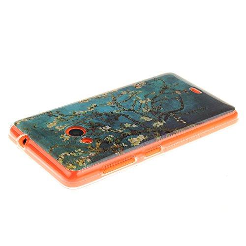 AllDo Funda Silicona para Microsoft Nokia Lumia 630 Carcasa Protectora Caso Suave TPU Soft Silicone Case Cover Bumper Funda Ultra Delgado Carcasa Flexible Ligero Caja Anti Rasguños Casco Anti Choque - Árbol en Flor
