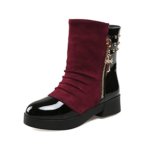 1TO9 Boots mujer Red remaches de Frosted Plataforma Tacones cuadrados para wrOqwUR