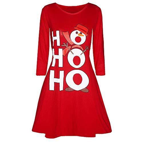 Longue Coupe Longues Noël Unie De Manches Section Uface Rond Col Femmes Moyenne Le Couleur Impression Rouge2 Et Slim Jupe Père Robe CwS47qn8
