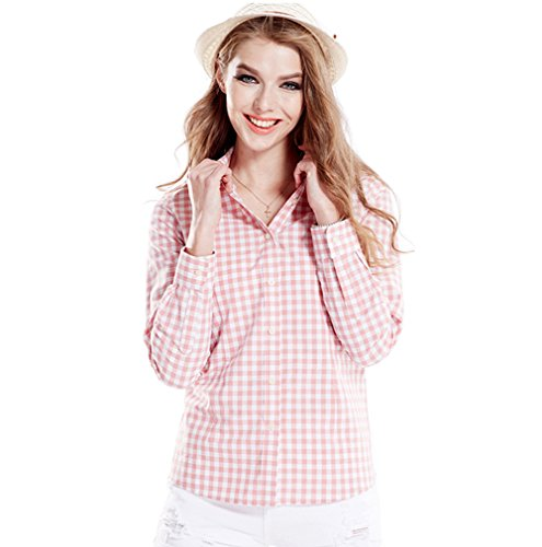 Women's Gingham Long Sleeve Button Down Plaid Shirt Pink White 2 (White Pink Gingham Check)