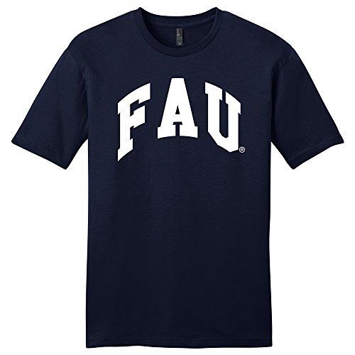 NCAA Florida Atlantic Owls University Arch Soft Style T-Shirt, Large, Navy (Fau Owls)