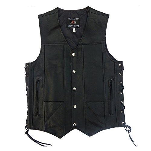 4Fit Men's Black Genuine Leather 10 Pockets Motorcycle Biker Vest S To 6XL (3XL (CHEST 52