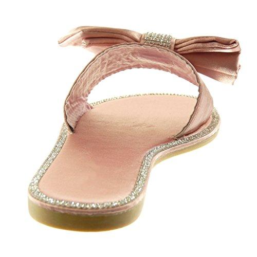 Angkorly Chaussure Mode Sandale Mule Slip-on Femme Strass Diamant Noeud Papillon Talon Bloc 1 cm Rose clair CYAEJD31wN