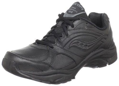 Saucony Women's ProGrid Integrity ST2  Walking Shoe,Black/Grey,10 B(M) - Fashionable Black Leather
