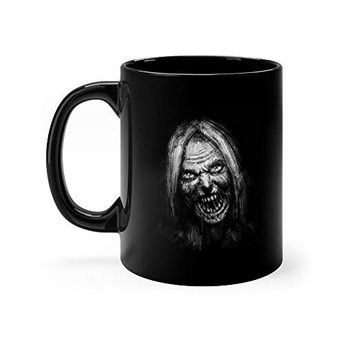 Scary Zombie Female Face On Black Trooper Funny Cute Mug Ceramic Cup 11 Oz