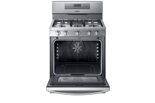 """Samsung NX58F5700WS 30"""" Self-Cleaning Freestanding Gas Convection Range Stainless Steel"""