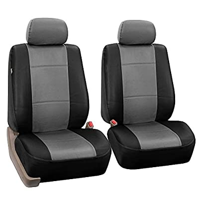 FH Group PU002GRAYBLACK102 Gray/Black Faux Leather Front Bucket Seat Cover, Set of 2 Airbag Compatible: Automotive