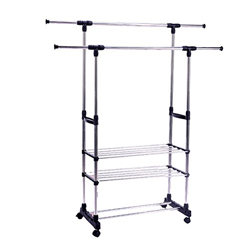 Livebest Double Rail Adjustable Hanging Clothes Garment Rack