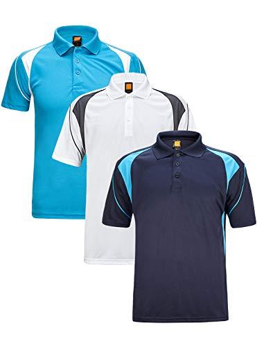 GEEK LIGHTING Men's Quick-Dry Short Sleeve Polo Sport Shirts(Blue+White+Dark Blue,M)