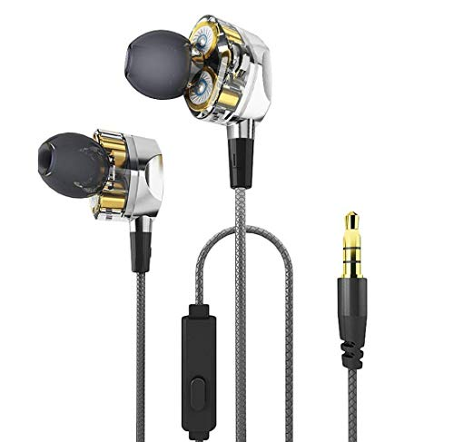 Double Wire Action (LANMEI Call Headphone Dual Action Ring Unit with Mai in Ear Headphones Music Wire Control Headphones Mobile Phone Headphones)