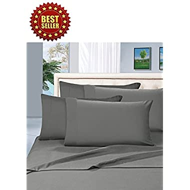 Celine Linen ® Wrinkle and Fade Resistant HIGHEST QUALITY 1800 Series Luxurious 4-Piece Bed Sheet Set, Deep Pocket up to 16 inch, King Gray