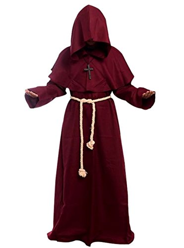 Friar Medieval Hooded Monk Renaissance Priest Robe Costume Cosplay, Burgundy, Large -