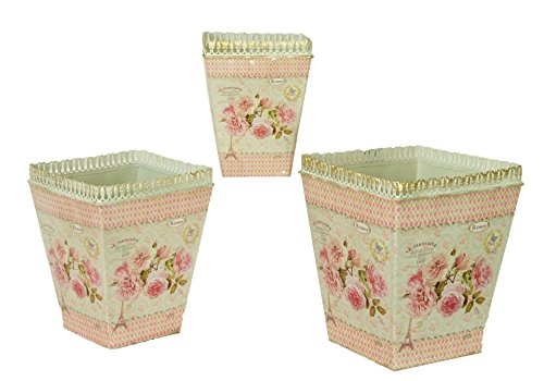 Cheap  French country planters vintage painted metal decorative vases by Dolce Mela DMMV578-S3