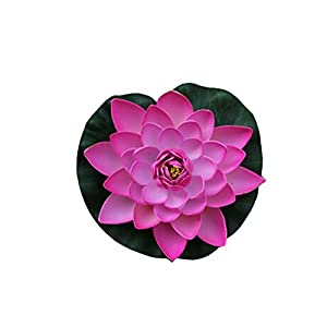 Flyusa 1 Pcs Diameter 6.69 Inch Floating Foam Lotus Water Lily Pond Decor Artificial Pond Plants Flower(Hot Pink) 63