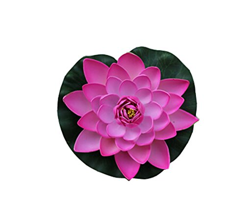 Flyusa 1 Pcs Diameter 6.69 Inch Floating Foam Lotus Water Lily Pond Decor Artificial Pond Plants Flower(Hot Pink)