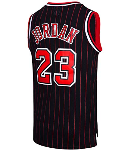 RAAVIN Legend Mens #23 Basketball Jersey Retro Athletics Jersey Red White Black/Strip S-XXXL(Black-Strip, Small)