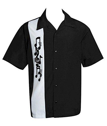 Jazz-Blues-Mens-USA-Made-Short-Sleeve-Button-Down-Shirt-BeRetro-Music-Note