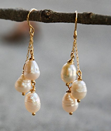 - 1 1/2 Inch Gold Tone Cultured Cream Freshwater Pearl Drop Earrings Wedding Bridal Bridesmaids Jewelry