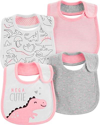 Carters Pink Bib - Carters Baby Girls 4-Pack Teething Bibs (Pink/Dino)