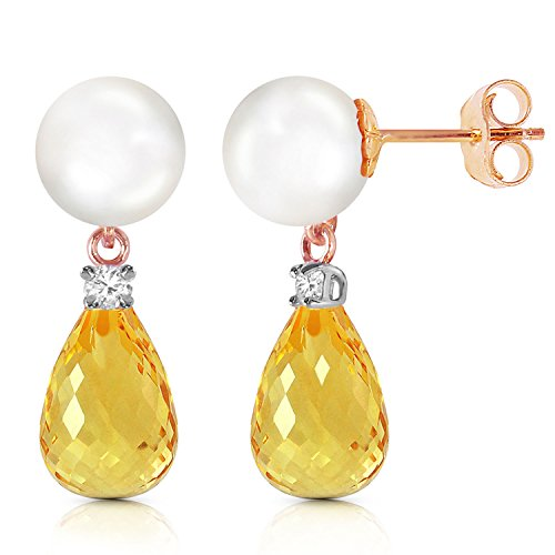 14K Solid Rose Gold Stud Earrings with Diamonds, Citrine & pearl