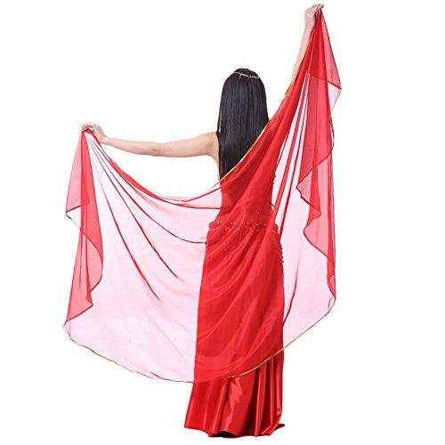 (AvaCostume Chiffon Solid Color Dance Veils Belly Scarves, Red)