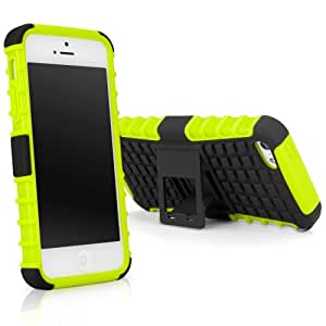 BoxWave Tuff-Site Apple iPhone 5s/5 Case - Extra Rugged iPhone 5s/5 TPU Case with a Collapsible Stand, Double-Layered Gives Extra Protection, Featuring Extra-Grip Grooves (Stark Green)