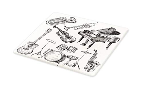 Ambesonne Jazz Music Cutting Board, Illustration of Musical Instruments Sketch Style Art with Trumpet Piano Guitar, Decorative Tempered Glass Cutting and Serving Board, Large Size, Beige Black ()