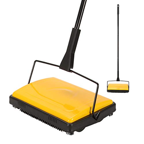 YOCADA Carpet&Floor Sweeper Cleaner for Home Office Carpets Rugs Undercoat&Long-haired Carpets Pet Hair Dust Scraps Paper Small Rubbish Cleaning with a Brush