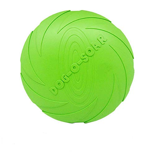 McDoo! Pet Toy Pet Throwing Training Frisbee Special Versatile Flying Saucer Natural Biting Rubber Frisbee for Dog Used on The Beach. (15cm, Green)