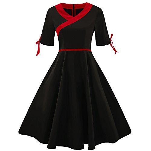 Swing Verano La Vestido Mujer amp;x Black De V Cuello Qin wXqaxT1