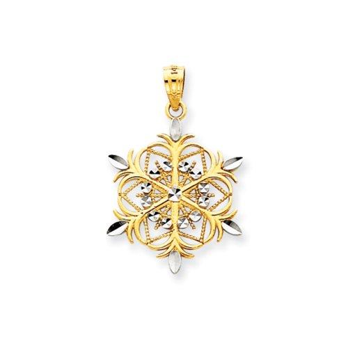 Rhodium Snowflake Pendant (14k Yellow Gold and Rhodium Snowflake Pendant)