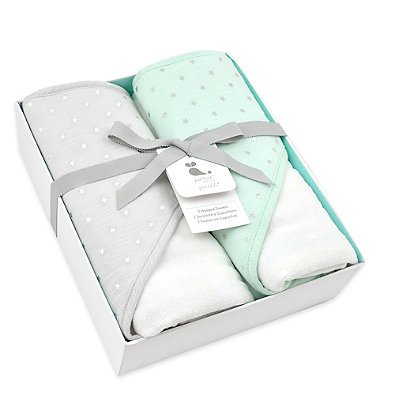 Just Born Sparkle Mint Green 2- Pack Hooded Towel Set