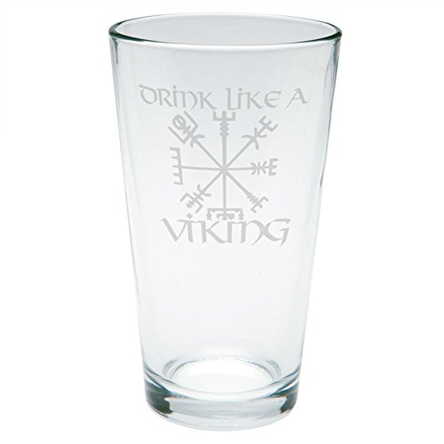 (Old Glory Drink Like A Viking Vegvisir Nordic Compass Etched Pint Glass Clear Glass Standard One Size)