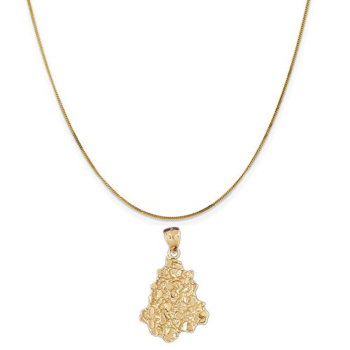 14k Yellow Gold Nugget Pendant on a 14K Yellow Gold Curb Chain Necklace, 16