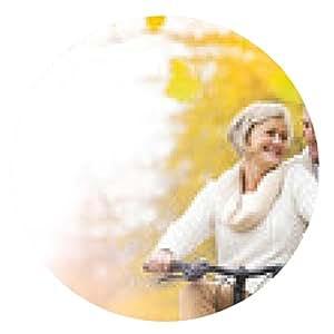 alfombrilla de ratón pareja de alto nivel con la bicicleta en parque del otoño - ronda - 20cm